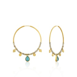 Ania Haie Creolen Mineral Glow Turquoise Labradorite Hoop Gold