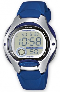 Casio Collection mit Digitalanzeige und blauem Resin-Armband