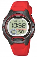 Casio Collection mit Digitalanzeige und rotem Resin-Armband