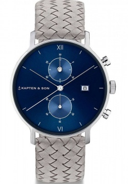 Kapten & Son Silver Blue Grey Woven Leather