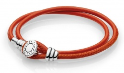 Pandora Armband Moments Double Leather Orange