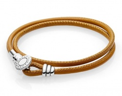 Pandora Armband Moments Double Leather Brown
