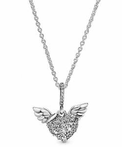 Pandora Collier Pavé Heart & Angel Wings