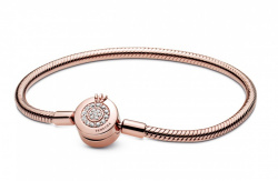 Pandora Armband Snake Chain Crown Clasp in Rosé