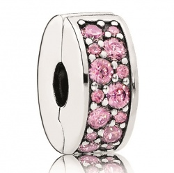 Pandora Clip Pave-Glanz Rosa in Silber 925