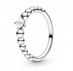 Pandora Ring Stackable Milky White Beaded